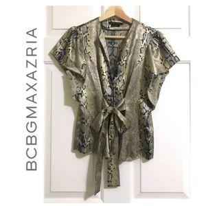 Bcbgmaxazria Luxury Snake Print Tie Blouse Top